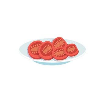 Flache tomatenscheiben der vektorkarikatur auf teller einzeln auf leerem hintergrund - ausgewogene ernährung, gesunde ernährung und kochkonzept, website-banner-anzeigendesign