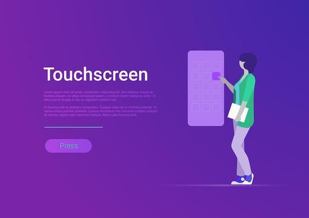 Flache touchscreen-vektor-illustration frau, die riesigen smartphone-bildschirm berührt touch