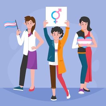 Flache transgender-personen illustriert