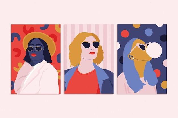 Flache trendige modeporträts decken die kollektion ab