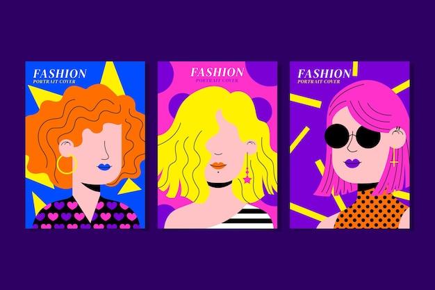 Flache trendige modeportraits-cover