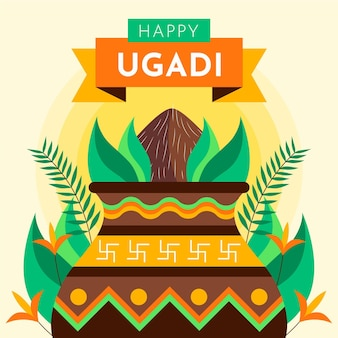 Flache ugadi festillustration