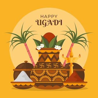 Flache ugadi illustration