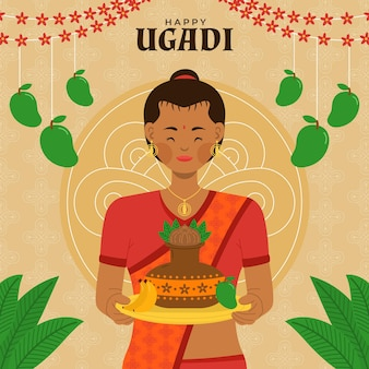 Flache ugadi illustration