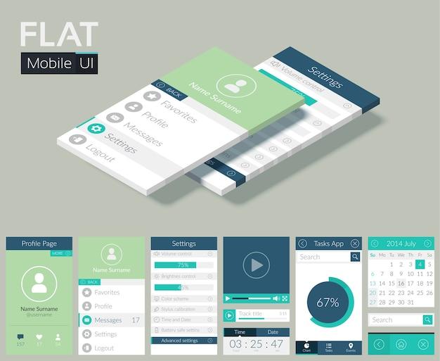 Flache ui-vorlage mit bildschirmsymbolen, webschaltflächen und elementen für mobiles design