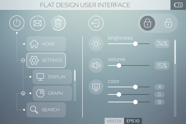 Flache ui-vorlage mit symbolschaltflächen, schiebereglern und webelementen für das mobile menü und die navigation