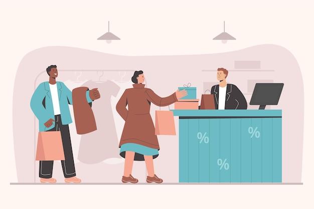 Flache und farbenfrohe illustration von menschen beim einkaufen
