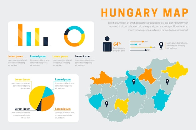Flache ungarische karte infografiken