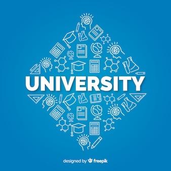 Flache universität konzept hintergrund