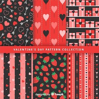 Flache valentin muster-kollektion
