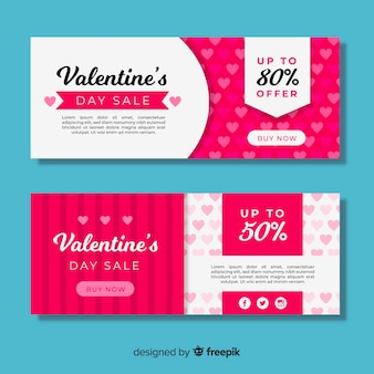 Flache valentin verkauf banner set