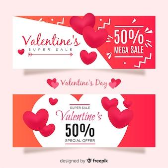 Flache valentin verkauf banner