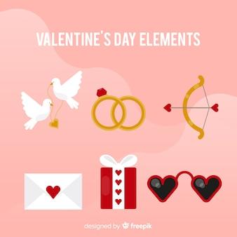 Flache valentinsgrußelemente packen