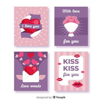 Flache valentinsgrußelementkartensammlung