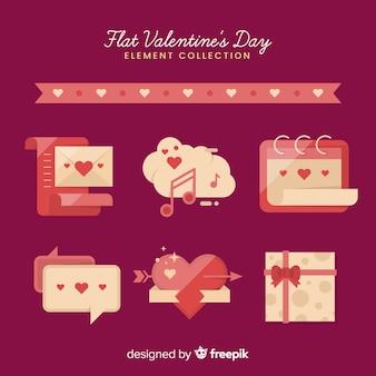 Flache valentinsgrußelementsammlung