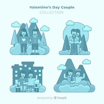 Flache valentinsgrußpaarsammlung