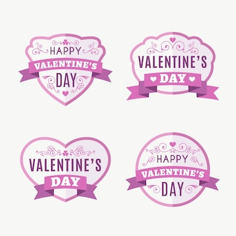 Flache valentinstag abzeichen pack