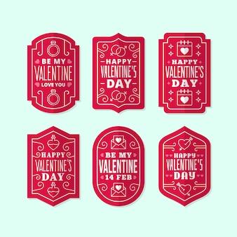 Flache valentinstag abzeichensammlung