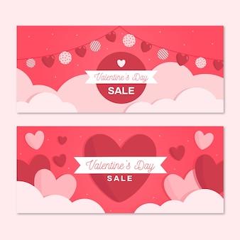Flache valentinstag banner festgelegt