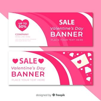 Flache valentinstag banner gesetzt
