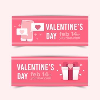 Flache valentinstag banner pack
