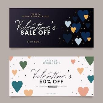Flache valentinstag banner packung