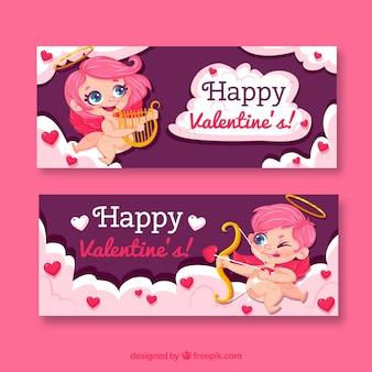 Flache valentinstag banner