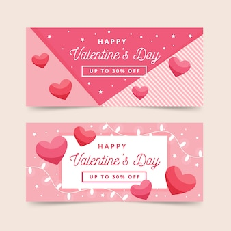 Flache valentinstag-banner