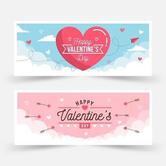 Flache valentinstag-bannersammlung