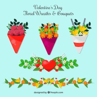 Flache valentinstag blumenkränze und blumensträuße