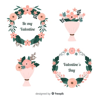Flache Valentinstag-Blumenkränze und -sträuße