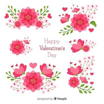 Flache valentinstag-blumensammlung