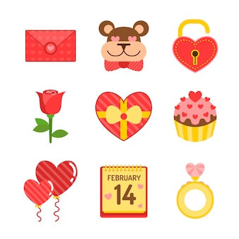Flache valentinstag element pack