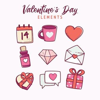 Flache valentinstag elemente