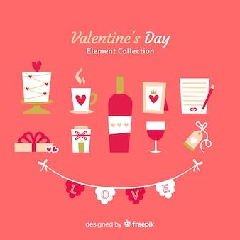 Flache valentinstag-elemente