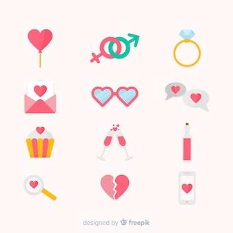 Flache valentinstag-elementsammlung