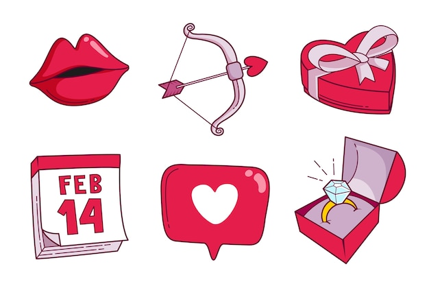 Flache valentinstag elementsammlung