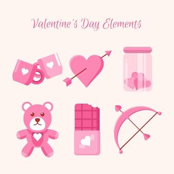 Flache valentinstag elementsatz