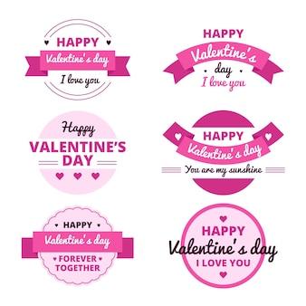 Flache valentinstag etikettenkollektion