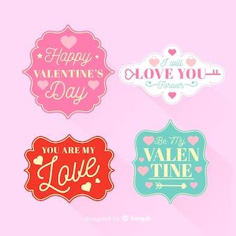 Flache valentinstag-etikettenpackung