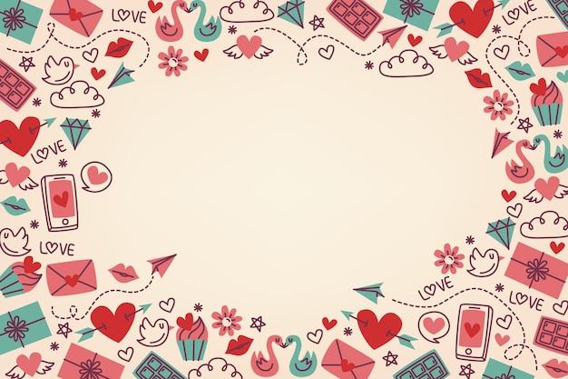 Flache valentinstag hintergrund