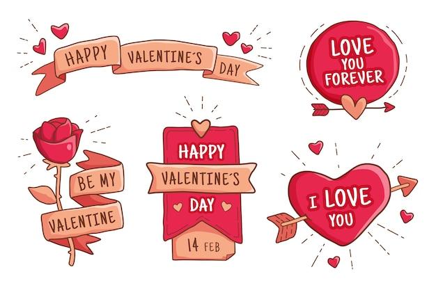 Flache valentinstag label / abzeichen sammlung