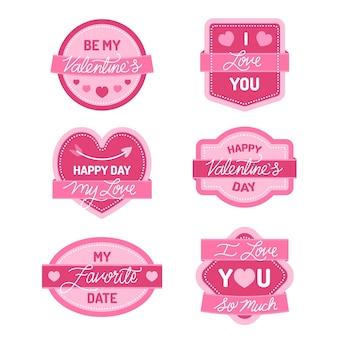 Flache valentinstag-label-auflistung
