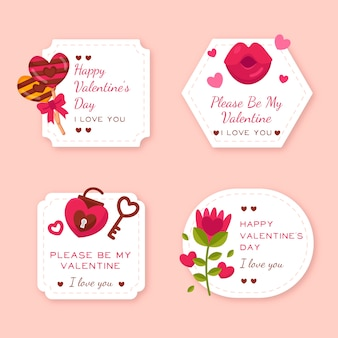 Flache valentinstag label / badge pack