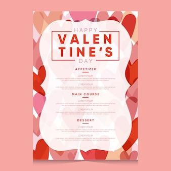 Flache valentinstag-menüvorlage