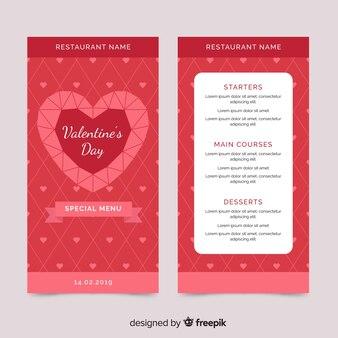 Flache Valentinstag Menüvorlage
