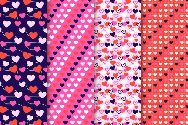 Flache valentinstag musterkollektion