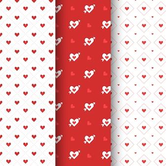 Flache valentinstag-mustersammlung
