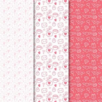 Flache valentinstag nahtlose musterkollektion mit niedlicher illustration