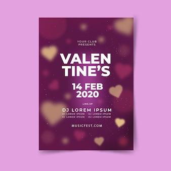 Flache valentinstag party flyer / plakat vorlage